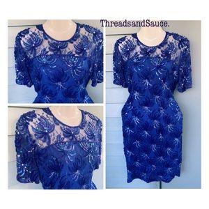 Vintage 80's Royal Blue Sequin Dress